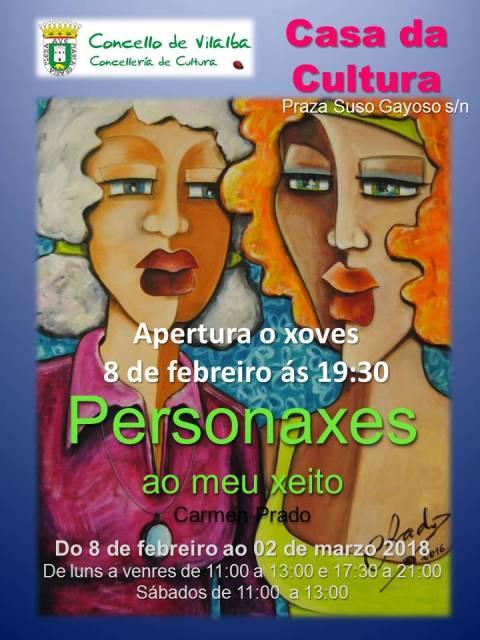 """Exposición """"Personaxes"""" de Carmen Prado na Casa da Cultura de Vilalba"""