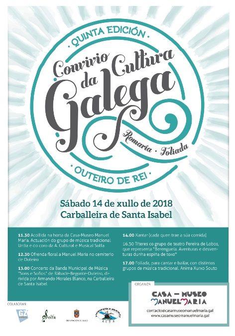 Programación do Convívio da Cultura Galega do 14 de xullo na Carballeira de Santa Isabel en Outeiro de Rei