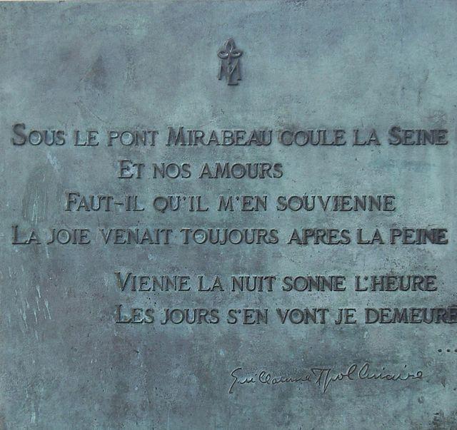 A PONTE MIRABEAU de Guillaume Apollinaire, versión ao galego-portugués de André Da Ponte