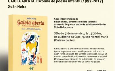 Xoán Neira presenta, na Casa-Museo Manuel María, o seu libro GAIOLA ABERTA